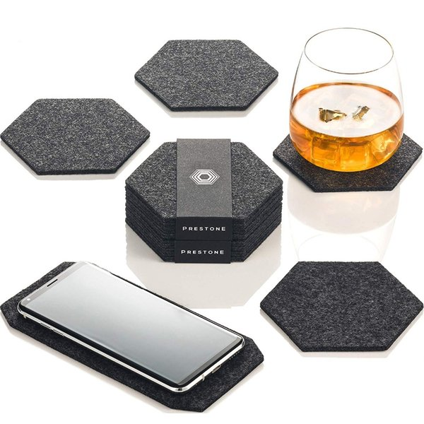 12pcs Felt Fabric Hexagon Round Cup Mat Phone pad Storage Box Set Drink Coasters Beer coffee Placemat Gift Table Decor Tableware
