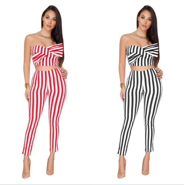 women Bow Striped 2 Piece Set Jumpsuit Combinaison Femme Slim Off Shoulder Sleeveless Womens Jumpsuit Casual Tracksuit KKA5651