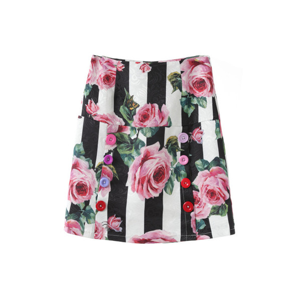 b94a59cd35f Korean Runway Style Rose Floral Printed A-line Mini Skirts Womens Vintage High  Waist Buttons Pencil Skirts For Summer 2018