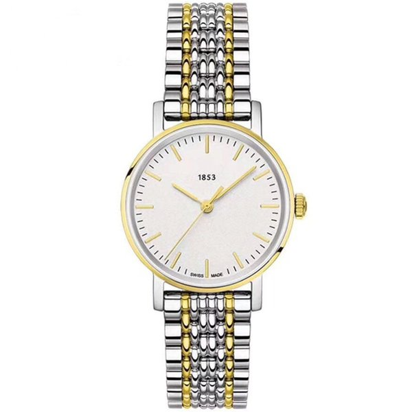 Lovers' Watches 38mm/28mm Mens Women's Stainless Steel White Dial Japanese Quartz Casusal Fashion Ultra-thin Couple Gift Wristwatches Tis5