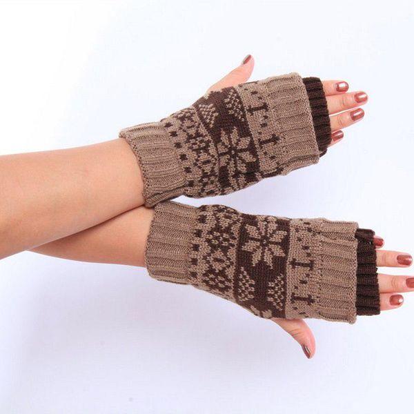 NIBESSER 2018 New Unisex Cartoon Gloves Nibesser Women Men Christmas Lovers Knitted Winter Warmer Half Finger Gloves Mittens