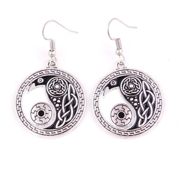 Religious Celtic Retro Raven Pendant Earring Morrigan Crow Raven Yin Yang Amulet Earring Jewelry For Woman Free Shipping
