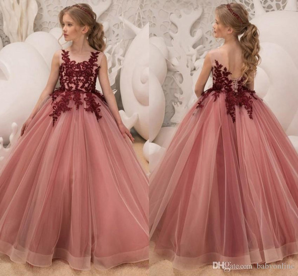2019 Princess Flower Girls Dresses Jewel Neck Burgundy Lace Applique Crystal Beaded Open Back Tulle Birthday Communion Girls Pageant Gown