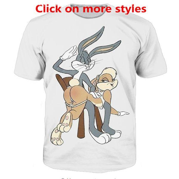 Novos Casais de Moda Das Mulheres Dos Homens Unisex Dos Desenhos Animados Bugs Bunny Lola Bunny Spanking Engraçado 3D Impressão Sem Cap Casual t-shirt Camisetas Tee Top