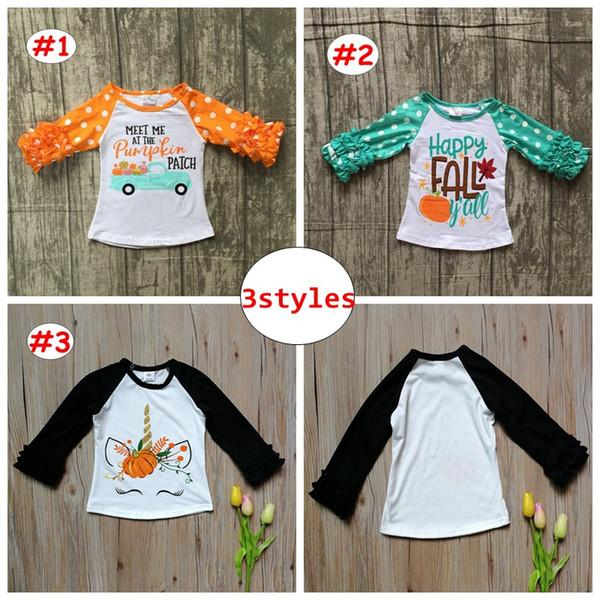 Baby Pumpkin Unicorn print shirts INS Halloween Kids Girl Boy Long ruffle Sleeve Tops Children Spring Autumn Tees for 1-5T