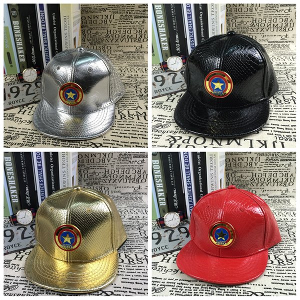 Avengers baseball star cap Artificial Leather children hip-hop Cartoon Captain America hat kids unisex flat baseball caps AAA460