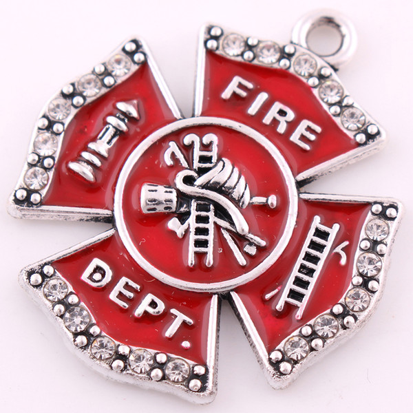 top popular 10pcs lot Zinc Alloy Rhodium Plated Single Side Fire Dept Badge Red Enamel Crystals Charm Pendant for Jewelry Making 2021