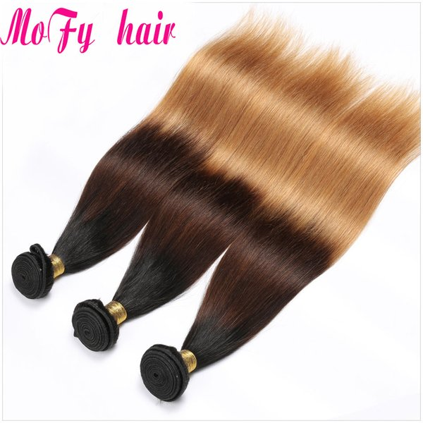 3 PCS Ombre Brazilian Straight Hair Bundles Three Tone Blonde Ombre Human Hair Weave Bundles Non-Remy 1b/4/27 Extensions Free Shipping