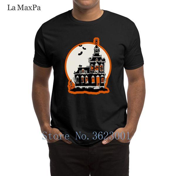 Create Family T-Shirt Vintage Style Haunted House Halloween Men T Shirt Websites 2018 Tee Shirt New Fashion Tshirt Man