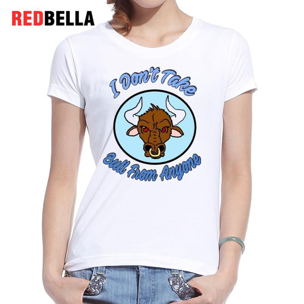 Women's Tee Redbella Camiseta Mujer Cool Women Tee Animal Parody Tshirt Cartoon Bull Head Funny T-shirt Femme White Casual Cotton Print Hot