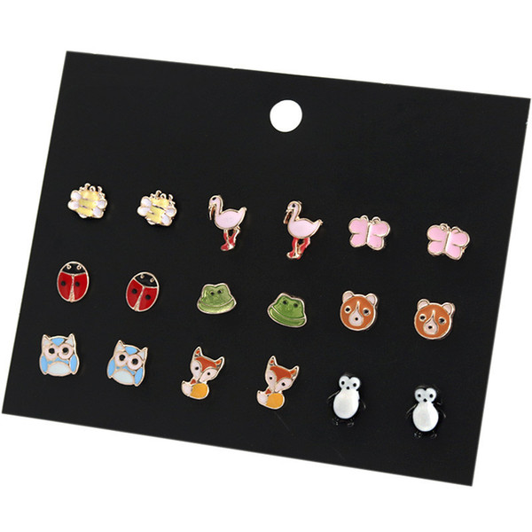 0d9f35065 9 Pairs Cute Animals Hypoallergenic Stud Earrings Set Owl Ladybug Fox  Piercing Earrings Set for Girls Kids Support FBA Drop Shipping H324R