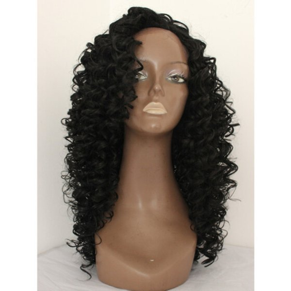 Lace Front Curly Hair Wig Heat Resistant Japan Fiber Long Bouncy Curly Glueless Synthetic Lacefront Wigs For African American Women