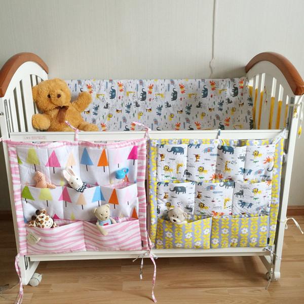 Cartoon Rooms Nursery Hanging Storage Bag Baby Cot Bed Crib Organizer 55*60cm Toy Diaper Pocket for Newborn Crib Bedding Set Closet Bags