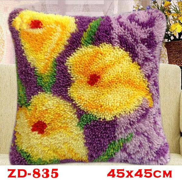 45cm Home Decorative Throw Pillow Case Animal Cushion Cover Sofa Chair Decoration Creative Needlework Flowers Series Elegant Purple