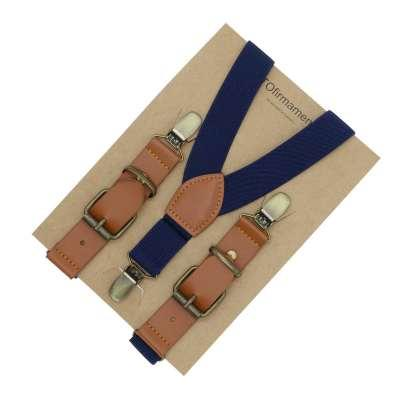 solid buckle adjust clipping 3 clips creative popular brown leather kids suspender Y back Holiday Outfit for Boys wedding use