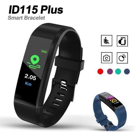Pantalla LCD ID115 Plus Pulsera Inteligente Fitness Tracker Podómetro Reloj Banda Frecuencia Cardíaca Monitor de Presión Arterial Smart Wristband cajas al por menor