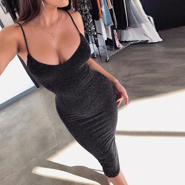 Hot Sexy Women Night Out Dresses Spaghetti Sleeveless Sheath Club Party Dress Knee Length Black Champagne Color Simple Lady Gowns 2018 New