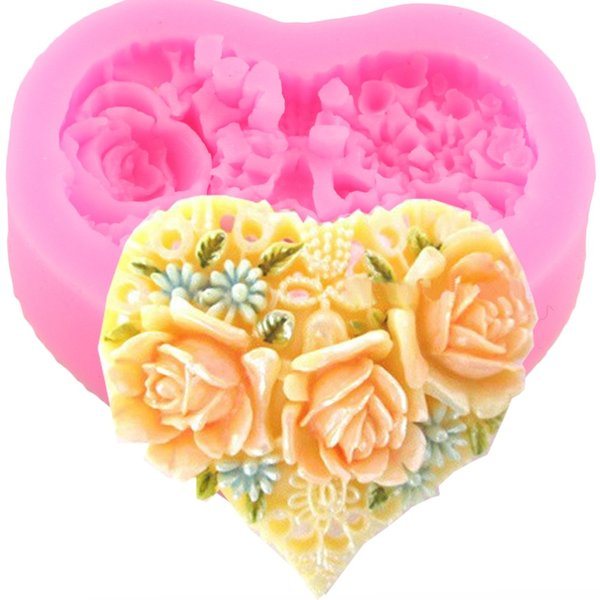 Heat Shape Flower Silicone Cake Mold Soap Forms Molds Candy Chocolate Stencil Kitchen Baking Fondant Cake Decorating Tools Q050