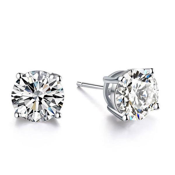 Or 9 carats, 14 carats, 18 carats Classique Quatre griffes D / F, sertissage simple, boucle d'oreille en diamant de laboratoire de Moissanite, magnifique goujon toujours brillant avec certificat