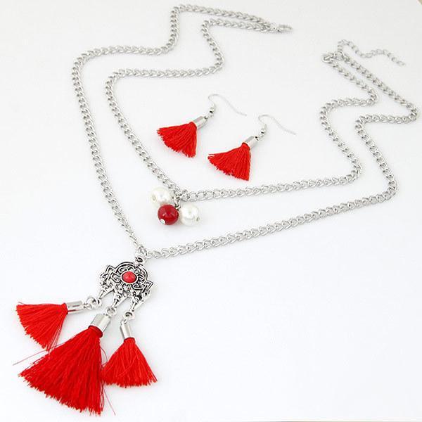 N0906 Joker Tassels Double-deck Temperament Necklace Earrings Set Dress