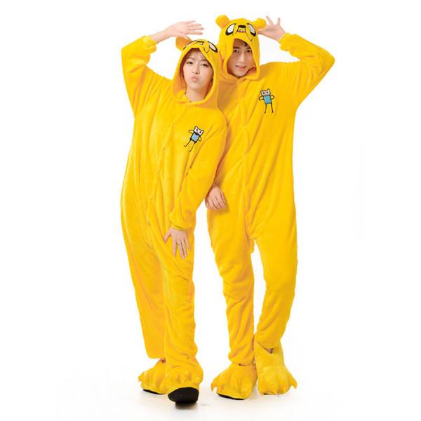 Adultos pijamas hombres mujeres Jake Dog Onesie Animal fiesta de dibujos animados pijamas de franela amarilla invierno cálido ropa de dormir traje general