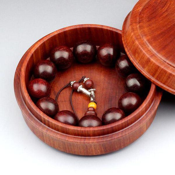 Burma rosewood circular beads hand string box, tea incense storage box, Vietnamese mahogany jewelry box, solid wood box QW8224
