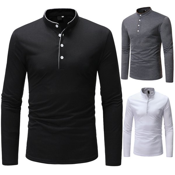 Fashion Shirts Cotton Long Sleeves Men Solid Color T Shirts Free Shipping Classic Edge Shirt for Men Stand Collar High Quality Autumn Shirts