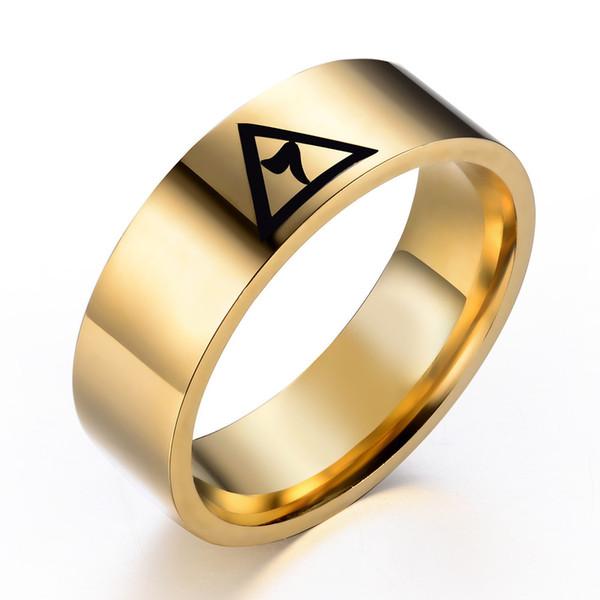 top popular Stainless Steel Gold black Silver Laser Engraved 14 degree Scottish Rite Yod ring Free Mason Masonic Signet Rings for men women 8MM Width 2020