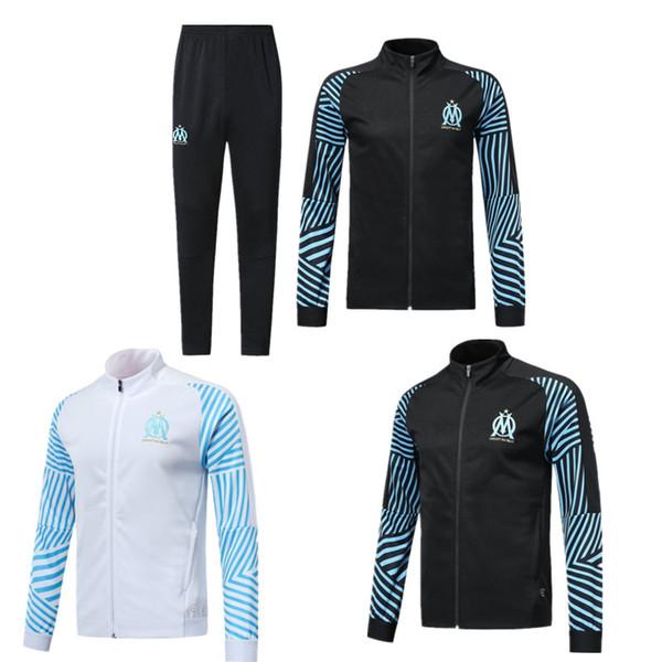 2018 2019 nuova giacca da calcio tuta Olympique de Marseille Maillot De Foot 18 19 PAYET L.GUSTAVO THAUVIN OM Giacca da allenamento tuta da allenamento