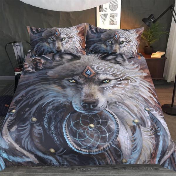 JaneYU New Wolf Clan Warrior Maison Textile Literie Trois Pièces Ensemble D'impression 3D