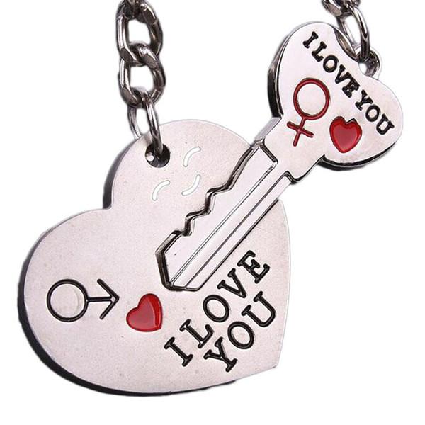 2018 nouvel alliage de zinc plaqué argent amoureux cadeau couple je t'aime coeur porte-clé mode porte-clé créatif porte-clé
