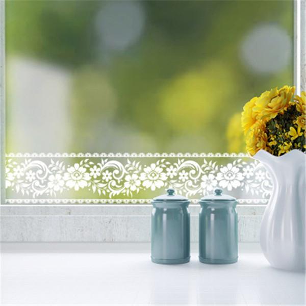 Wholesale 10m White Lace Waist Line Wall Sticker For Glass Window Wallpaper PVC Kitchen Bathroom Tile Mural Party Decor Sticker Border