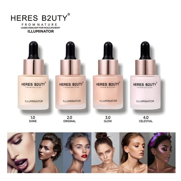 HERES B2UTY Liquid Highlighter Concealer Shimmer Viso Glow Ultra-concentrato illuminating bronzing gocce 15 ml 4 color