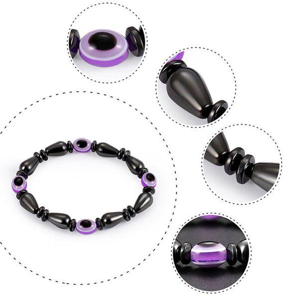 Gota de agua piedra de piedra biliar negra Pulsera magnética Cuentas planas resina púrpura mal de ojo forma pulseras hechas a mano el mejor regalo para parejas nave de la gota