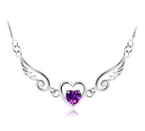 925 Sterling Silver Angel Wings Love Heart Necklaces & Pendants Rhinestones Silver Chain Necklace Women Fine Jewelry
