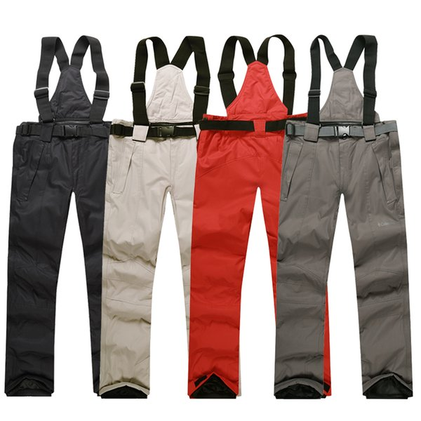 Men Ski Pants Brands 2018 New Warm Outdoor Sports Waterproof Thinken Women's Snow Trousers Suspenders Winter Snowboarding Pants
