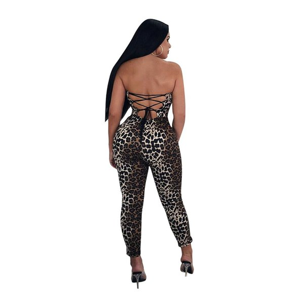 XLLAIS Summer Print Leopard Rompers Womens Jumpsuits Stretch Bandage Club Wear Clothing Ladies Off Shoulder Soft Overalls