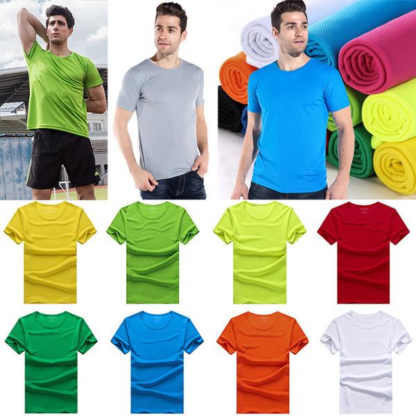 Manches courtes séchage rapide t-shirt col rond de refroidissement t-shirt sport respirant couleur unie hommes femmes dessus des vêtements à la maison gratuit DHL WX9-853