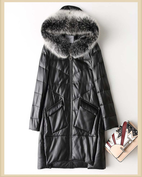 new woman duck down coat genuine sheepskin leather fox fur hood hat female lady winter warm parka black plus big size xxxl 3xl