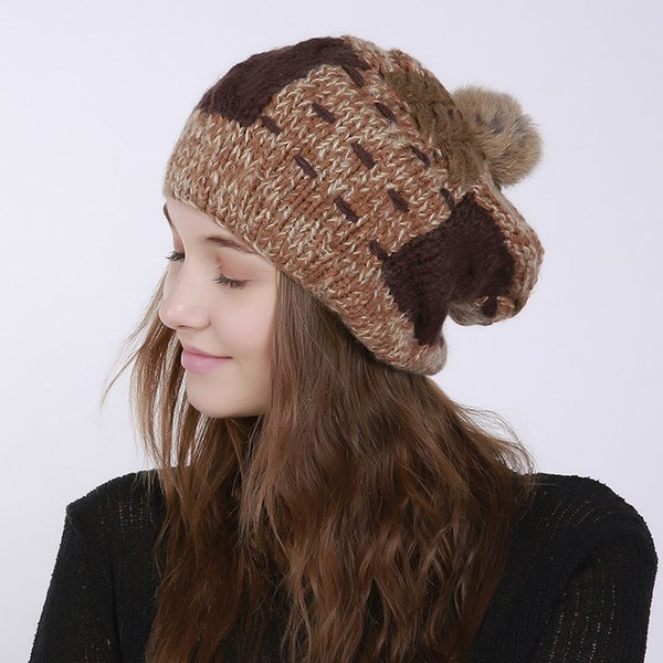 20b88b3dc82d3 Wholesale 4 Colors Polyster Bunny Fur Pom Pom Winter Hats Beanie Gorras  Luxury Cap Fitted Hat
