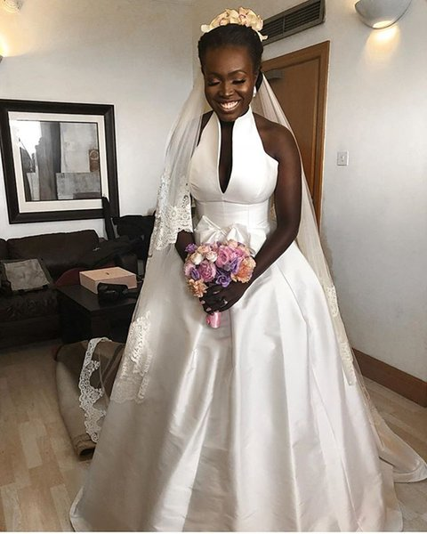 2019 Simple White Stain A Line Wedding Dresses High Neck Empire Waist Garden Bridal Gown Custom Made Hot Sale