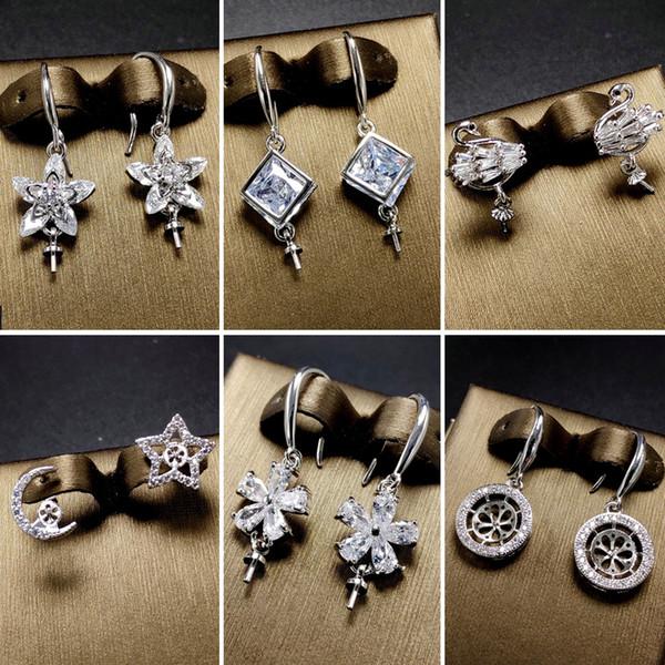 top popular DIY Pearl Earrings Setting Zircon Solid 925 Silver Earring Setting Pearl Eardrop Mounting Earings Blank DIY Jewelry Gift for Fmale 14 Styles 2019