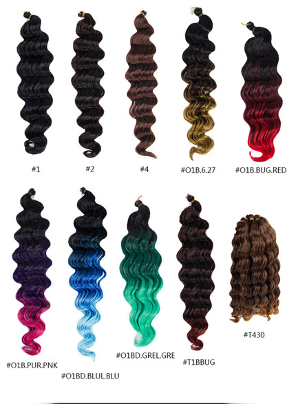 Synthetic Braiding Hair Crochet Braids Hair Extensions Ocean Wave Big Wave Black Color 16inch Easy for Marley Twist 2018 New Fashion