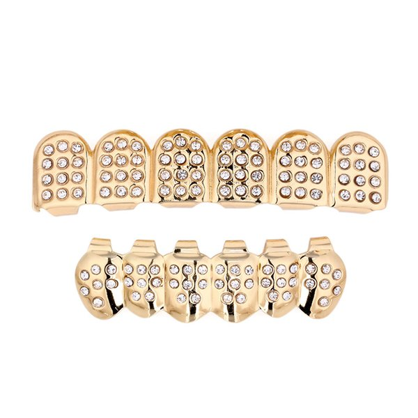 maxi Fashion Trendy Geometri Dental Grills Black Ethnic hipop Gold Color Crystal Punk Grillz Dental Grills Man Women Body Jewelry whosale