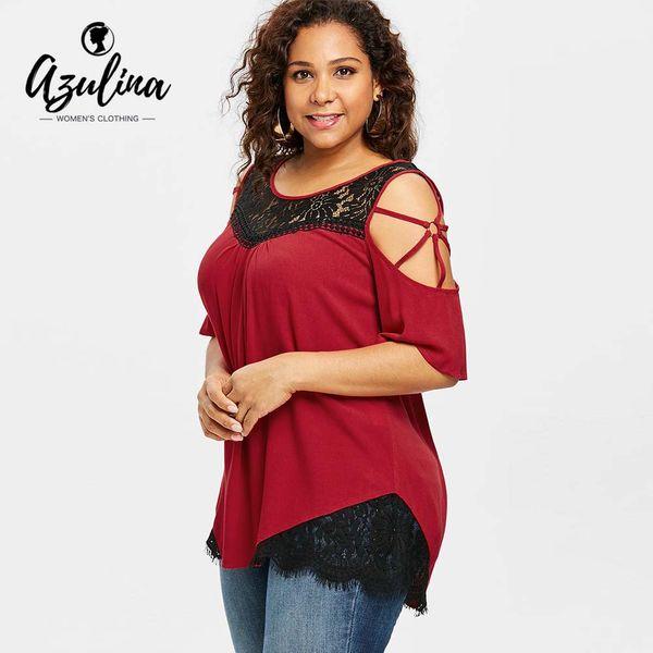 AZULINA Plus Size Lace Insert Open Shoulder T-Shirt Women Summer Top Scoop Neck Half Sleeve T Shirt For Women Tops Tees Big Size