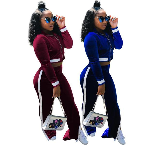 Autumn Side Striped Spliced Casual 2 Piece Set Women Front Zip Long Sleeve Crop Top And Split Leg Button Up Sweat Pants