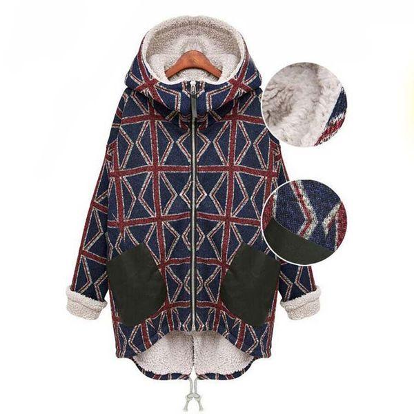 Abrigo de lana de maternidad para las mujeres embarazadas Ropa de abrigo de invierno al aire libre Rejilla Térmica Cálido grueso Forro forrado con capucha Chaquetas Abrigo