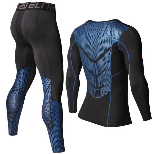 Wholesale-Men T shirts Pants Set Long Sleeve T-shirt Men's Compression Shirts Fitness Bodybuilding Clothes Rashguard Sport Suit