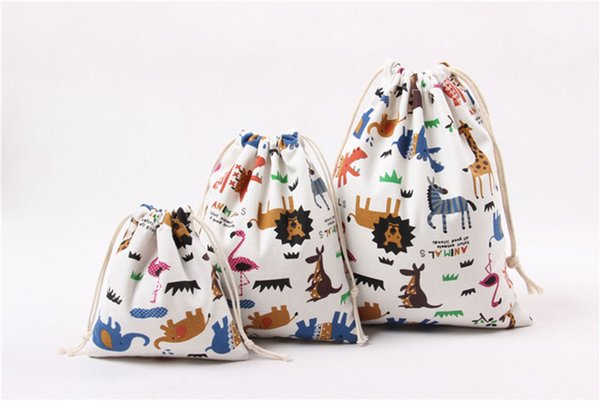 Home String bag Animal printed 100%cotton canvas dust Clothes socks/underwear shoes receive bag home Sundry kids toy storage bag