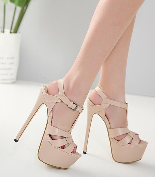 Free Shipping Summer Women's High Heels Fashion 18cm Super High Heel Platforms Fine Women Sandals Top Quality